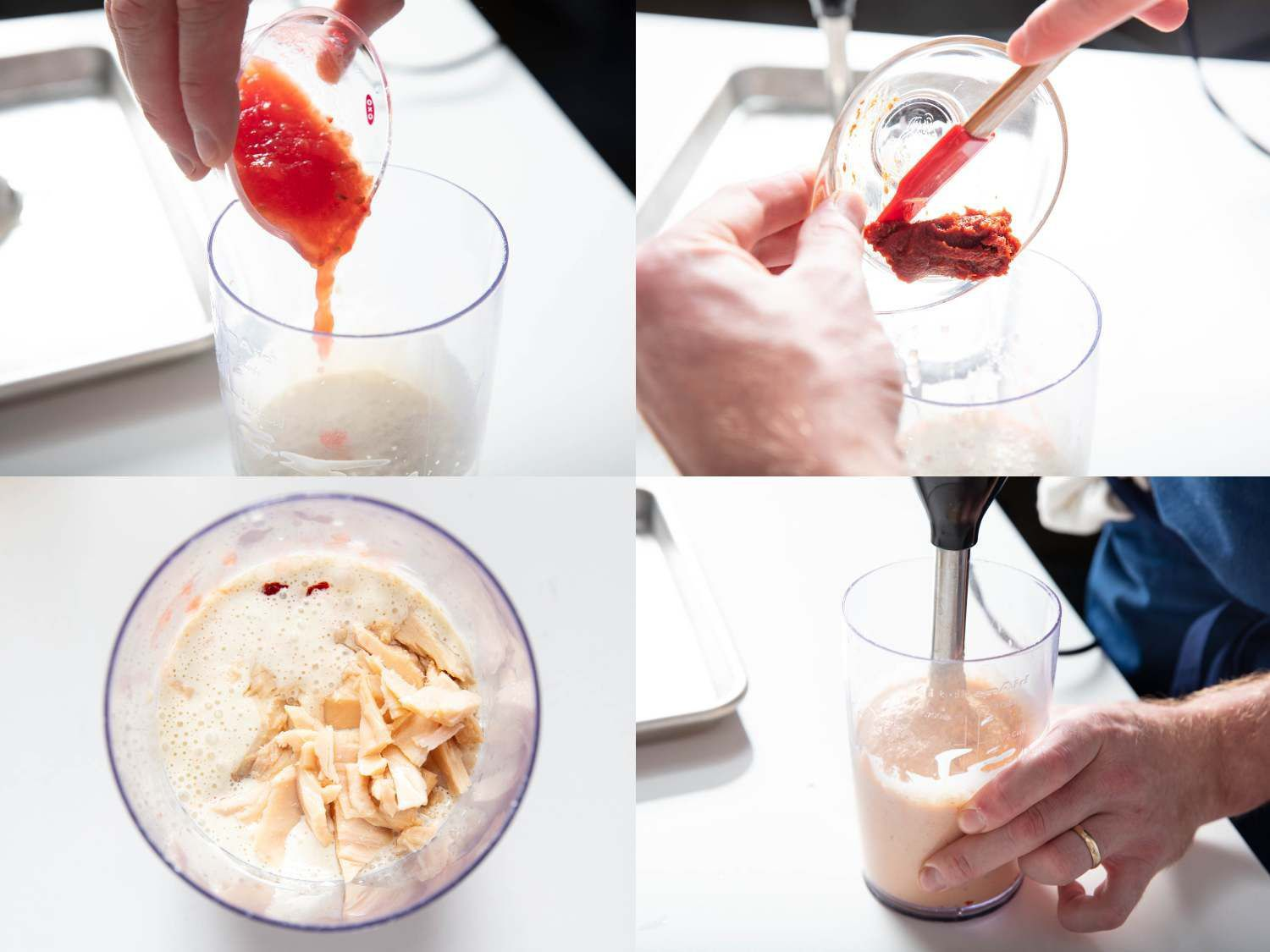 Photo collage of blending tomato pulp, hot pepper paste, and canned tuna into spicy tonnato sauce.