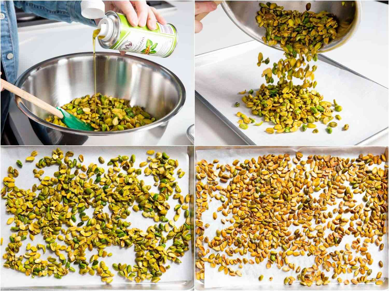 oiling and toasting blanched pistachio