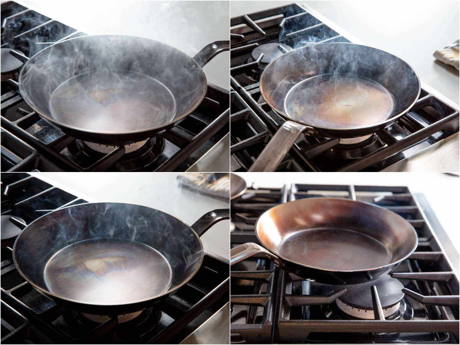 Burning seasoning onto a carbon steel pan; the sequence shows a pan smoking heavily, and eventually the smoke fades.