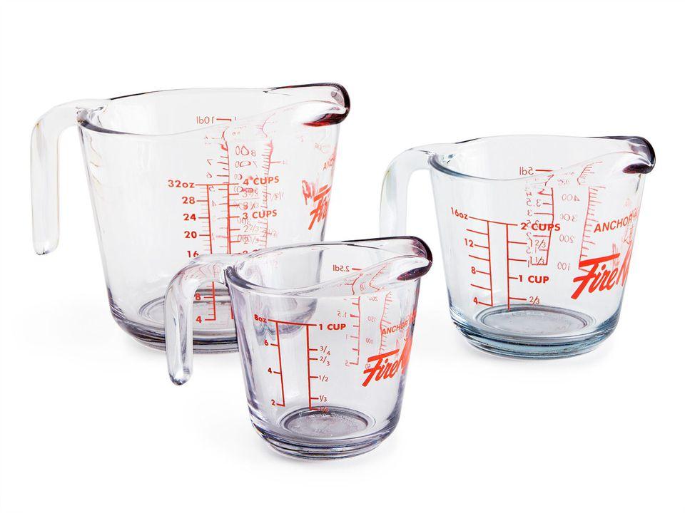Three sizes of liquid measuring cups.
