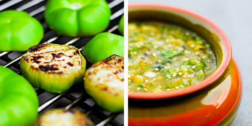 Tomatillos on the grill, and a bowl of grilled tomatillo salsa.