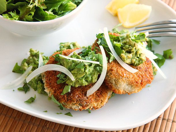 Chickpea Cakes with Mashed Avocados