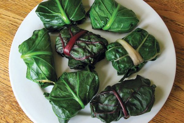 Chard- or Collard-Wrapped Polenta-Chile Tamale Packages