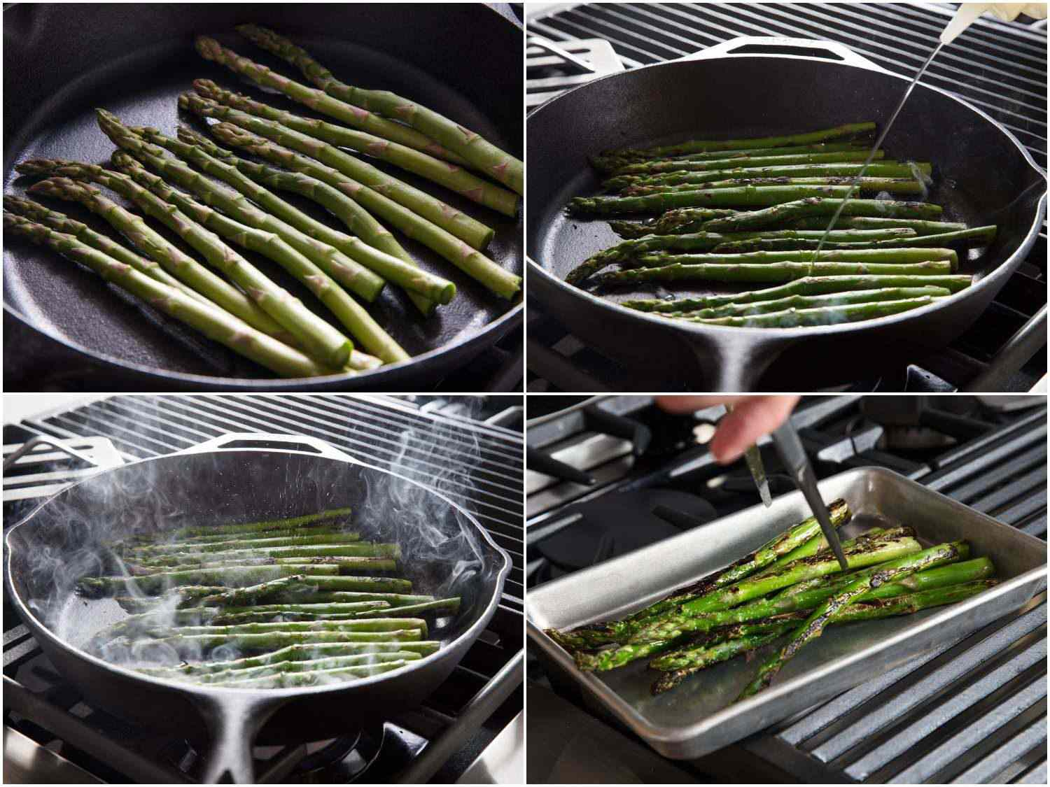 Process shots of charring asparagus in a cast iron pan.