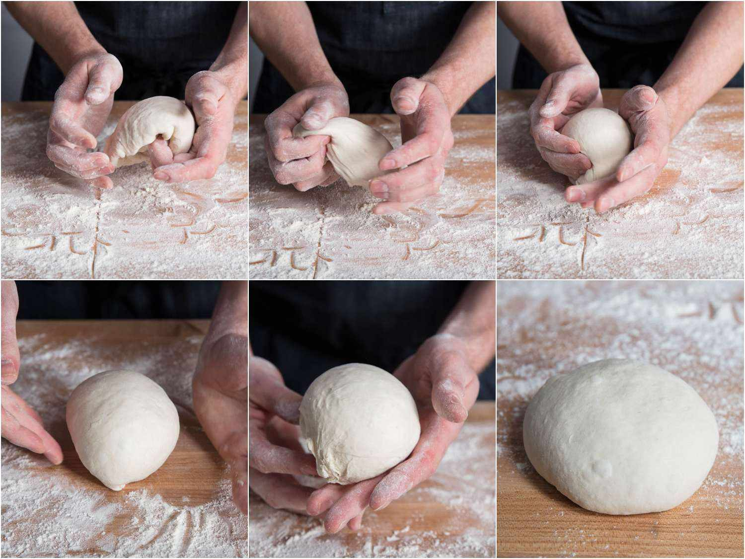 Collage of hands showing how to ball pan pizza dough