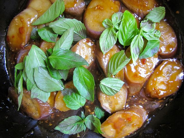 Taiwanese Braised Eggplant with Garlic and Basil, in the Pot