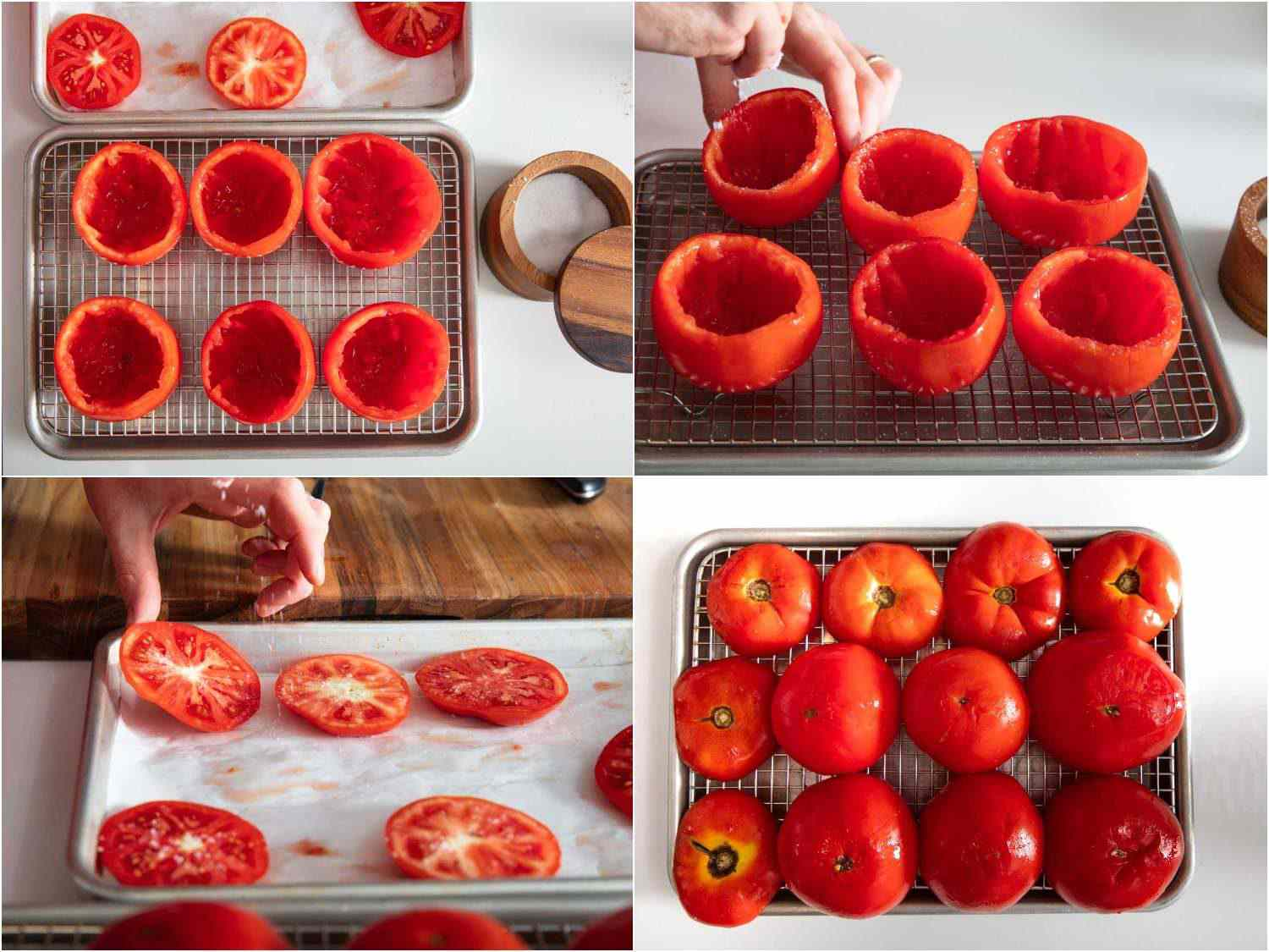 Photo collage of salting hollowed out tomatoes and placing them upside down on a wire rack-lined baking sheet to drain them of excess moisture.