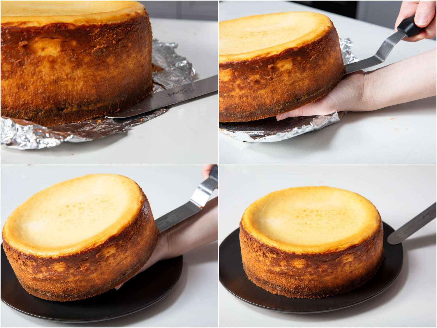 removing the baked cheesecake from the loose bottom of the pan