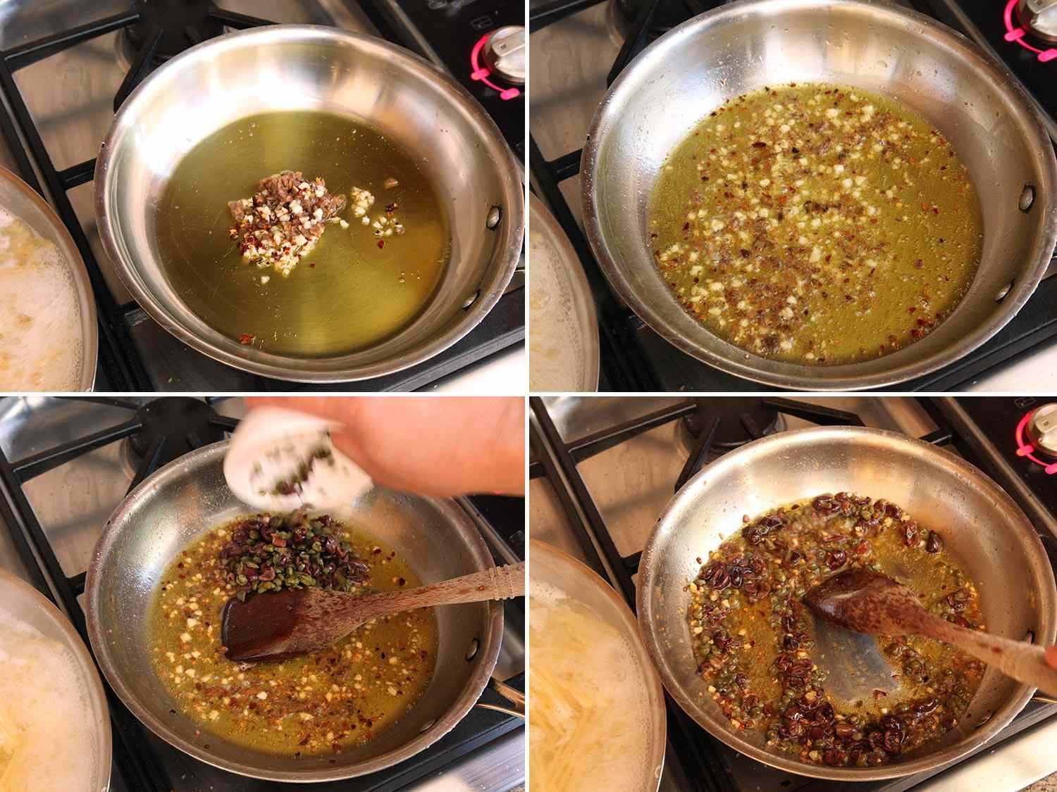 Photo collage showing sauteing garlic, anchovies, capers, and olives in olive oil for pasta puttanesca.