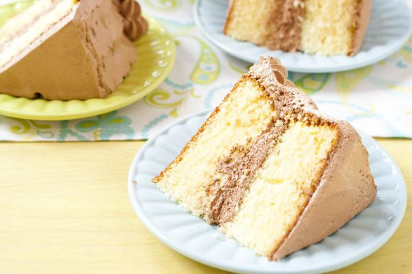 yellow birthday cake with chocolate frosting