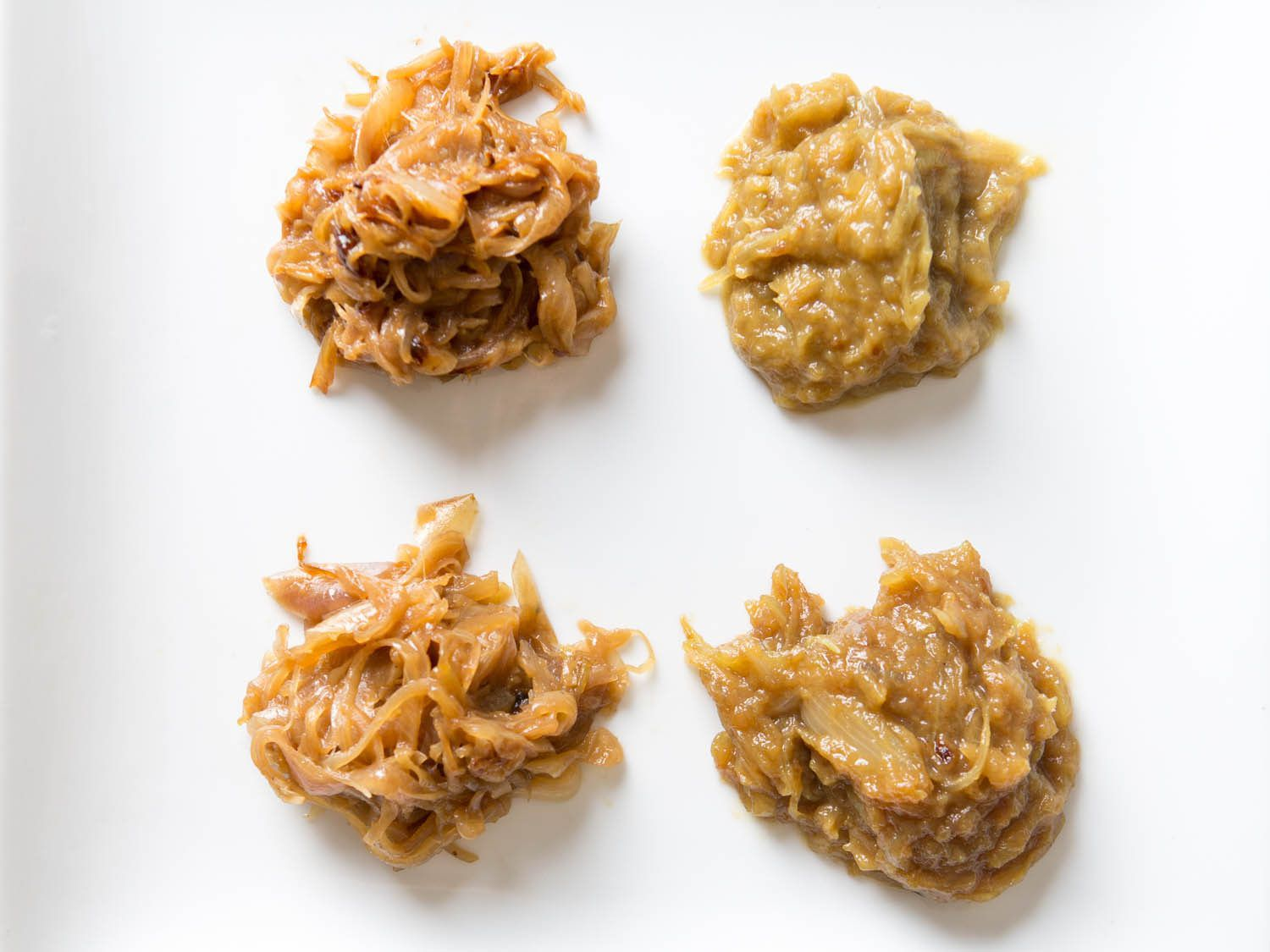 Caramelized onions, made with and without baking soda and various fats.