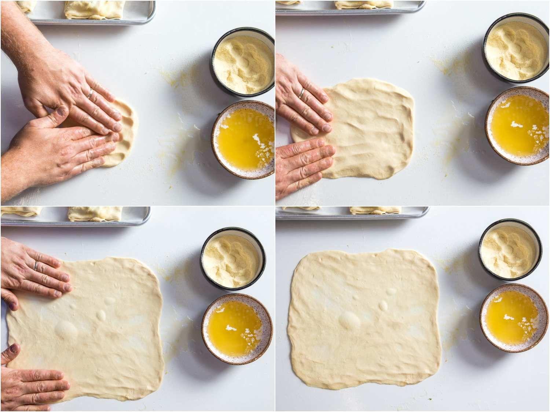 Patting dough for m'smen