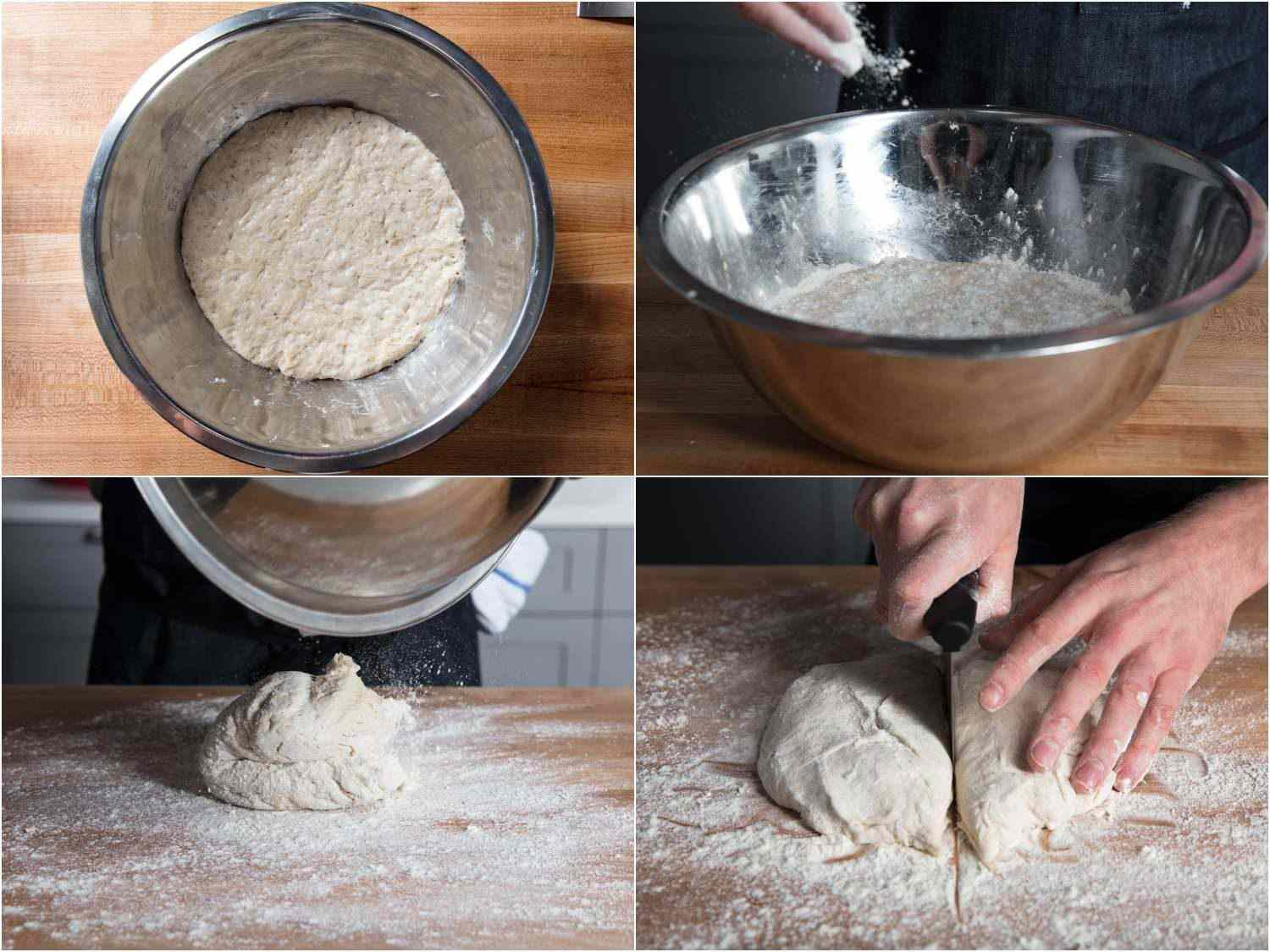 Collage of removing proofed pan pizza dough from mixing bowl