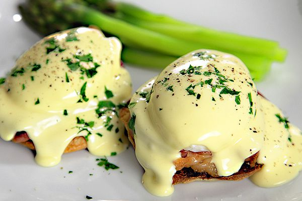 Eggs Benedict topped with 2-minute immersion blender hollandaise.