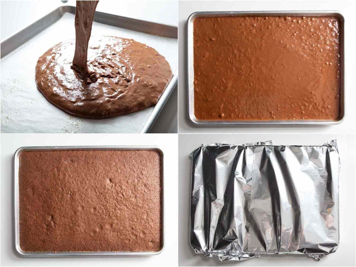 from batter to baking and steaming the chocolate cake