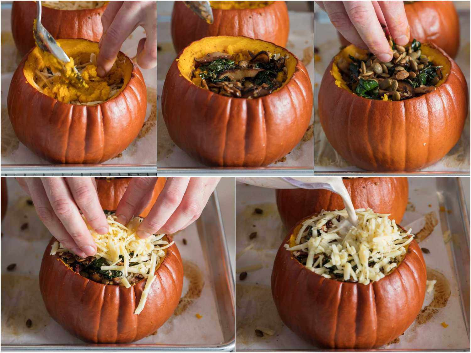 Photo collage showing final layers of stuffed pumpkins.
