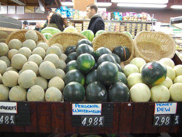 watermelon, honey dew, and cantaloupe