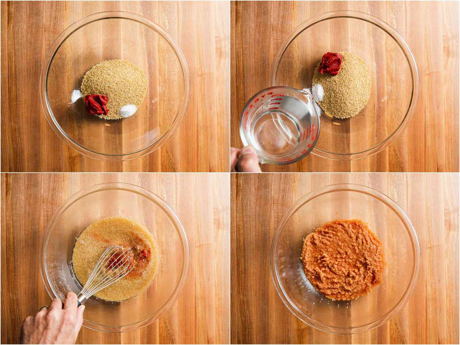 Hydrating bulgur with hot water and tomato paste