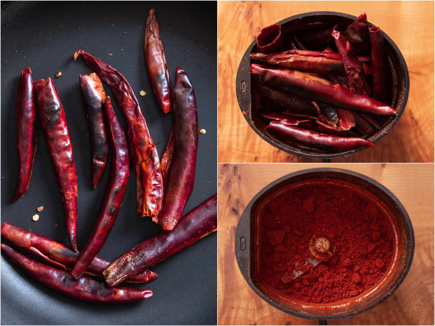 toasting dry chiles and blending