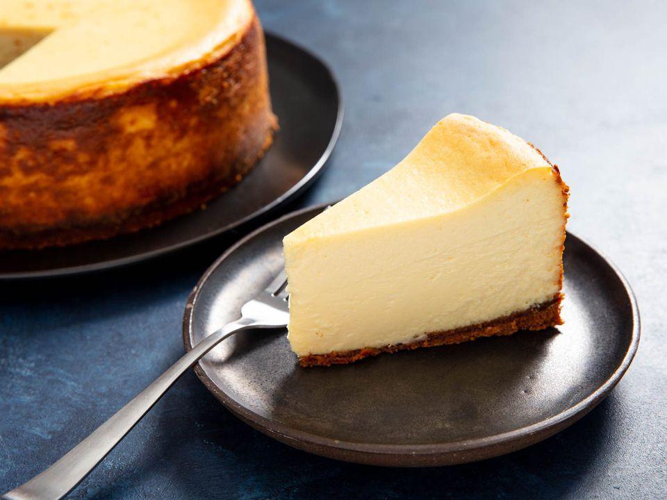 a plain slice of New York cheesecake