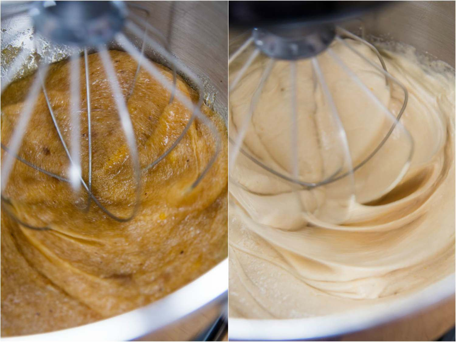 Photo collage of whipping eggs with sugar, salt, and instant espresso for brownies