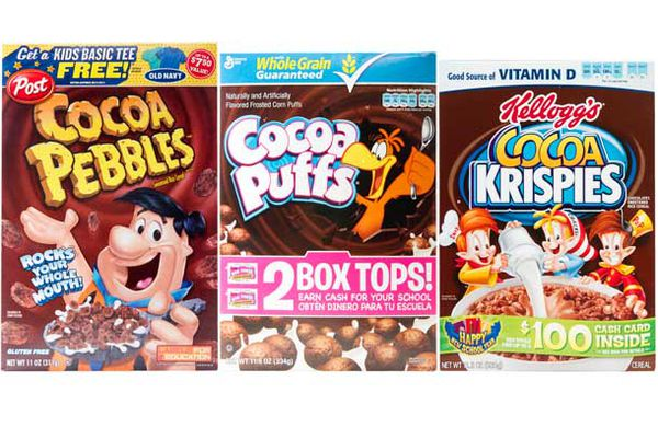 Boxes of Cocoa Pebbles, Cocoa Puffs, and Cocoa Krispies.