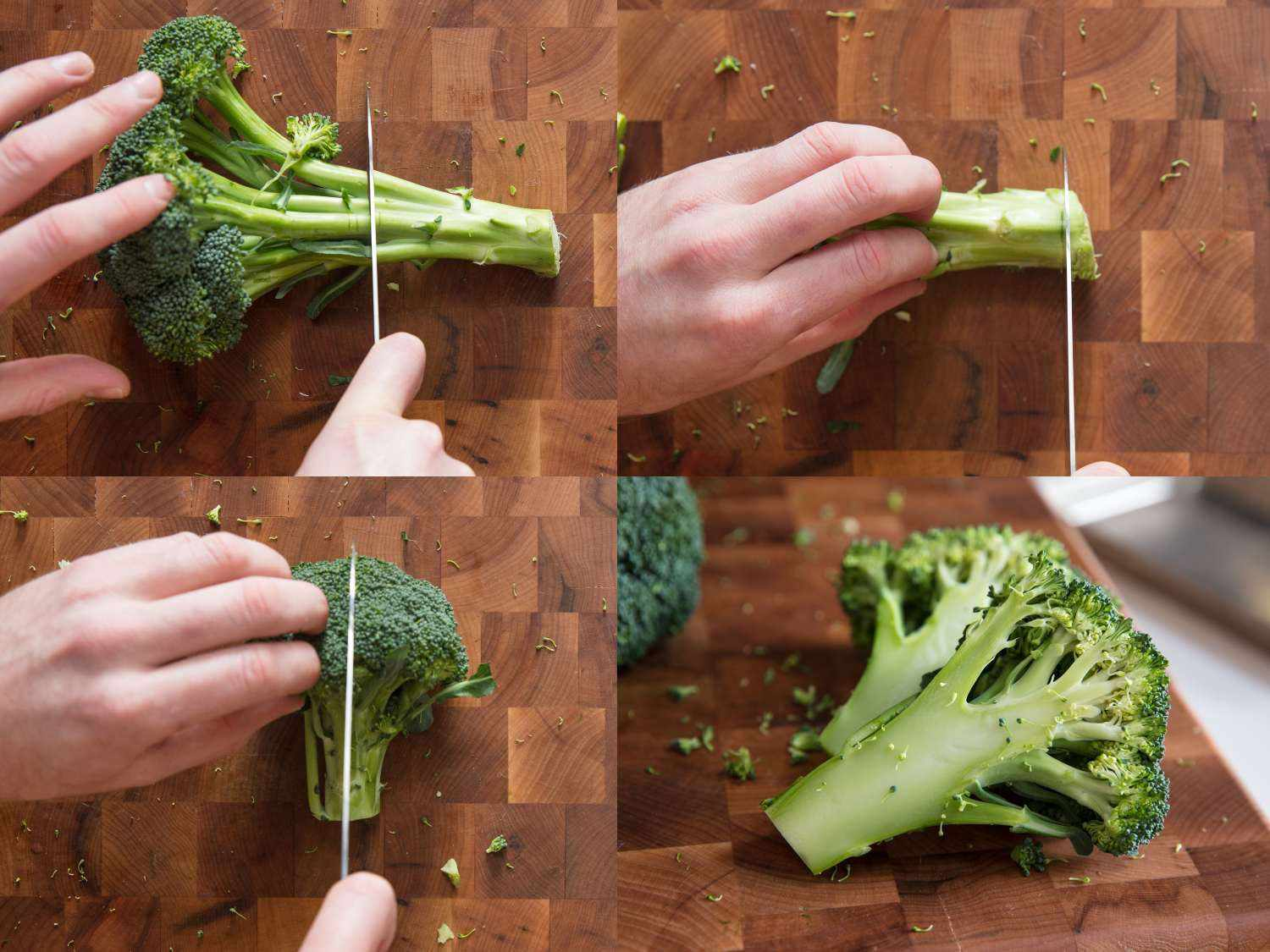 Process shots of cutting broccoli into steaks.