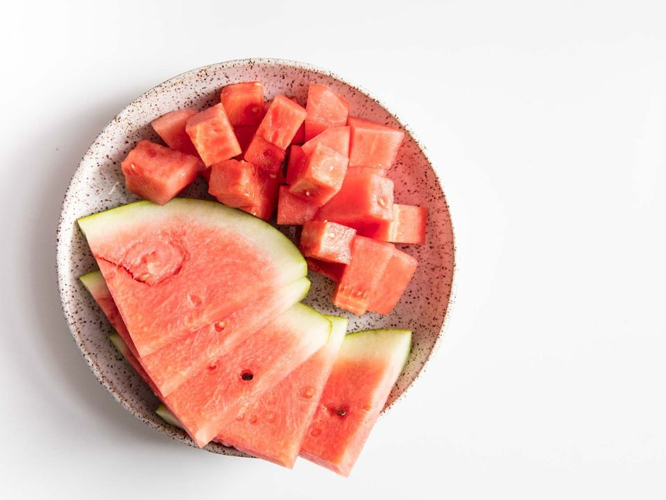 Watermelon cubes and wedges