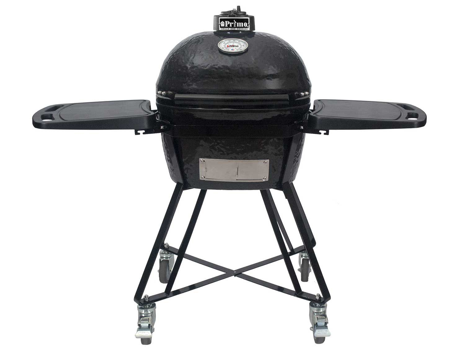 The Primo Oval JR, a small, oval-shaped kamado-style cooker with two side shelves