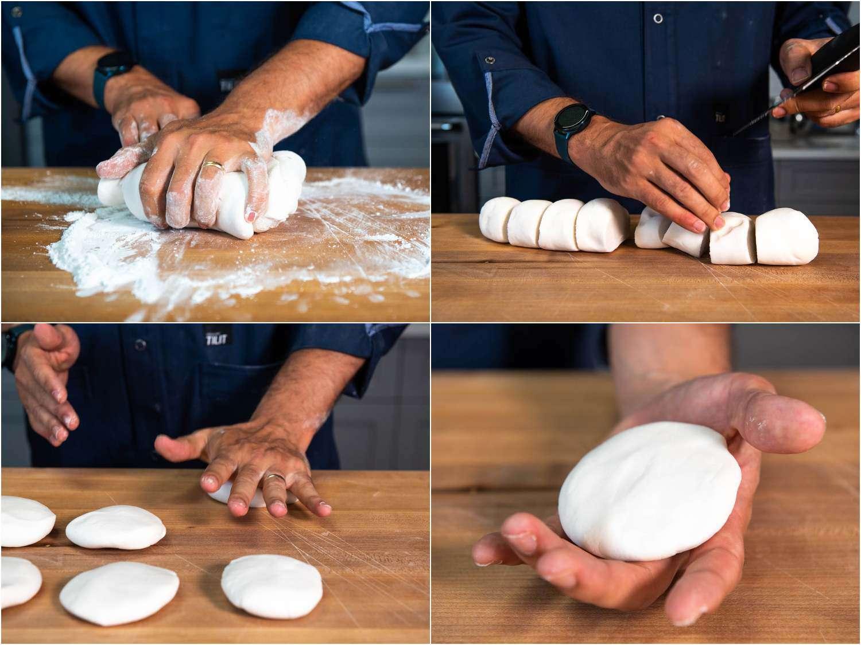 Knead dough for khao piak sen noodles