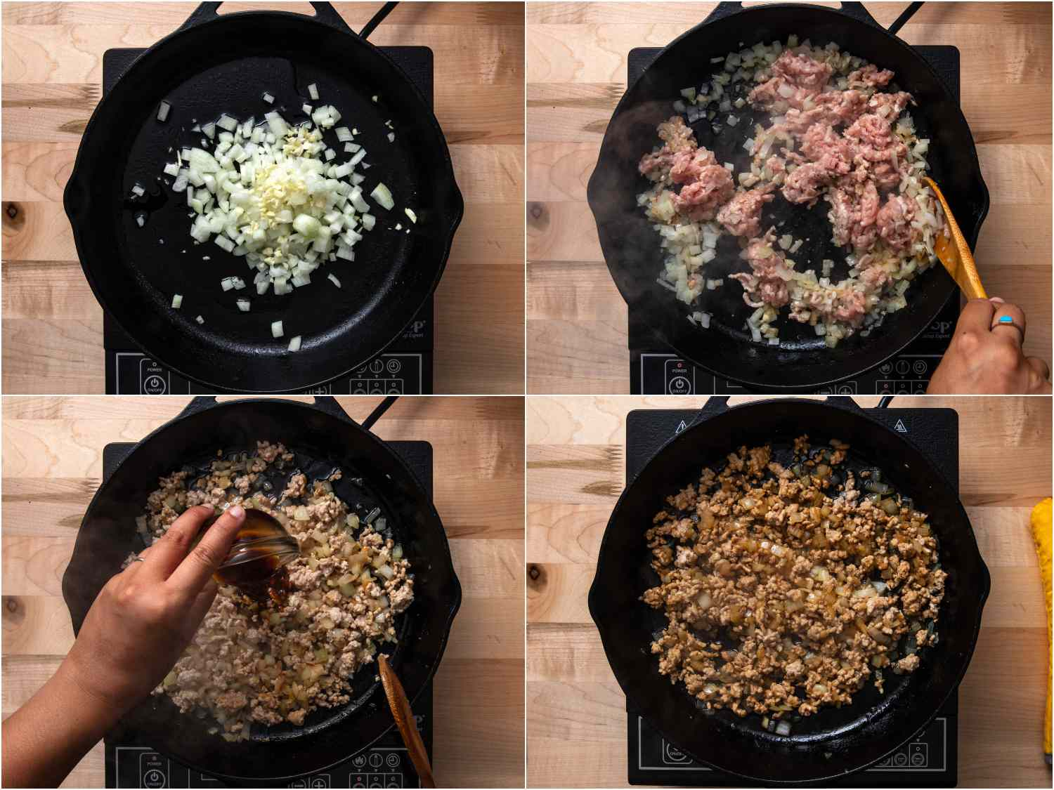 collage: onions and garlic cooking; ground pork added; soy sauce being poured in; everything mixed, combined, and browned