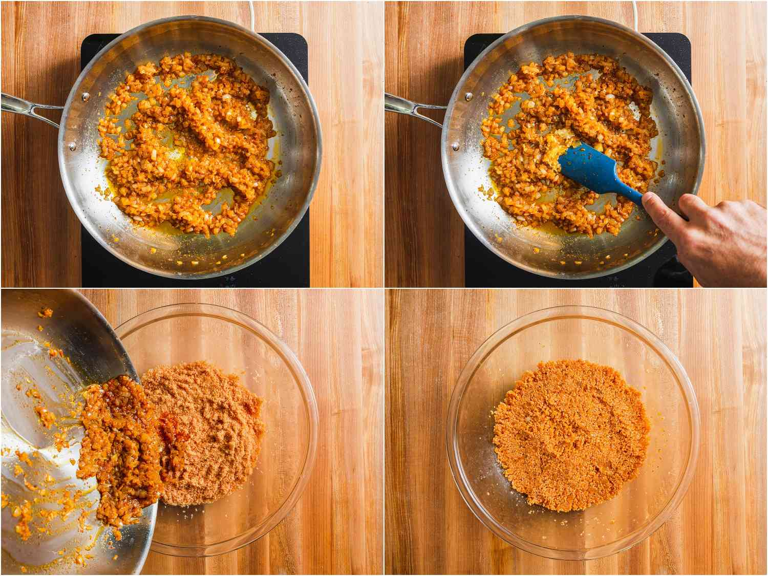 Cooking aromatics with Aleppo pepper and adding to hydrated bulgur.