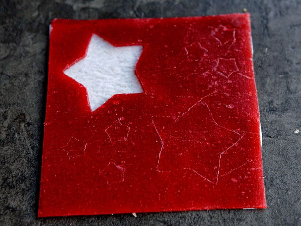 strawberry fruit roll-up with star cut-out