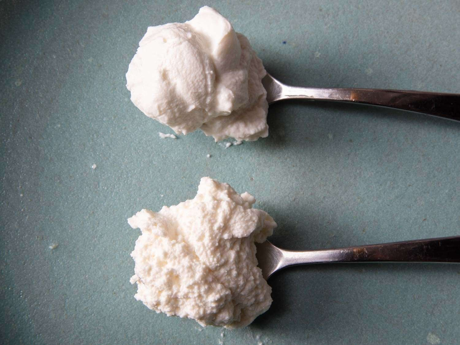 side by side comparison of two ricotta styles, one grainy and coarse, the other creamy and smooth