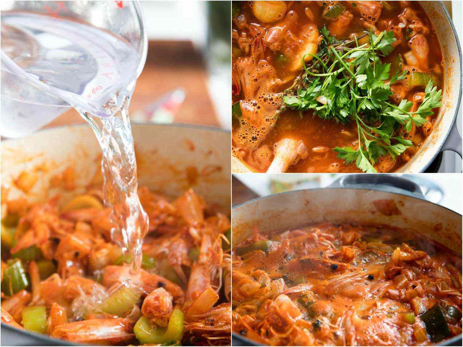 Shrimp stock photo collage with the shells simmering.