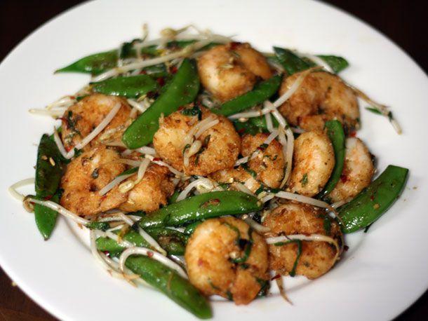 stir-fry shrimp and snap peas