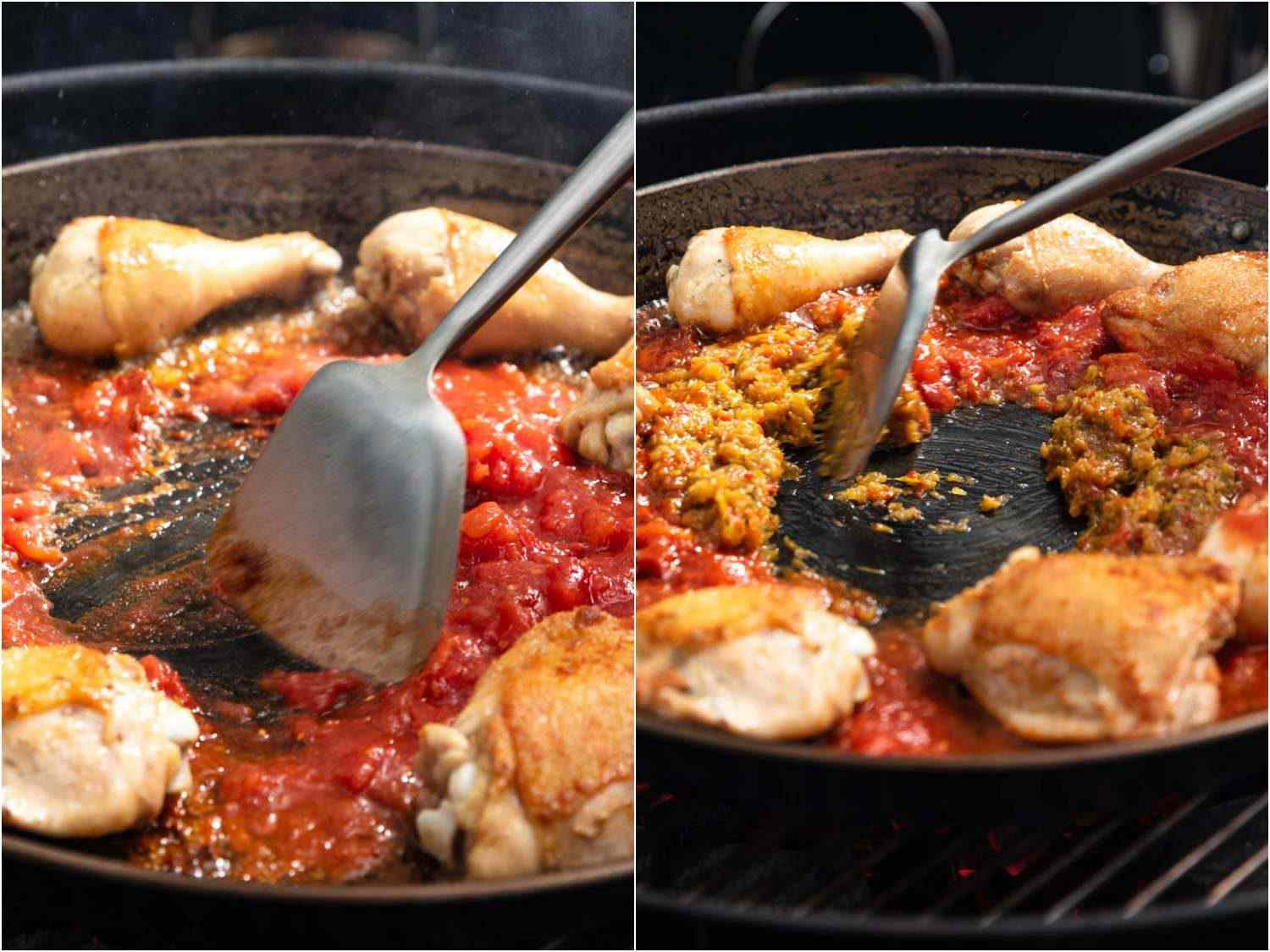 Sauteing tomato sauce, saffron, and paprika in the paella pan, with the chicken pushed off to the side.