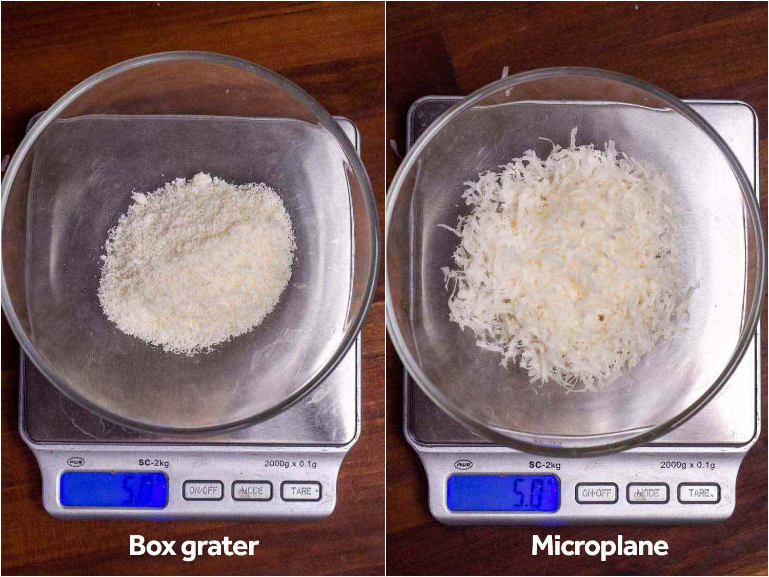 Two 5-gram samples of Parmesan cheese sit in small glass dishes on scales; the box-grated samples clearly takes up less volume than the Microplane sample
