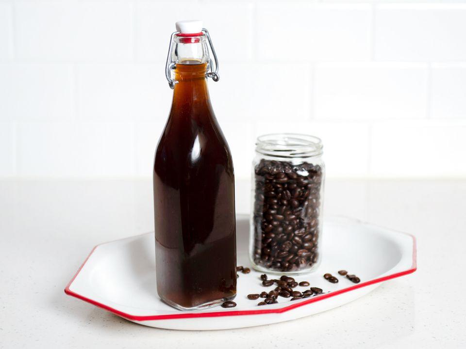 a bottle of homemade coffee liqueur
