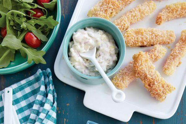 Oven-Fried Fish Sticks with Tartar Sauce