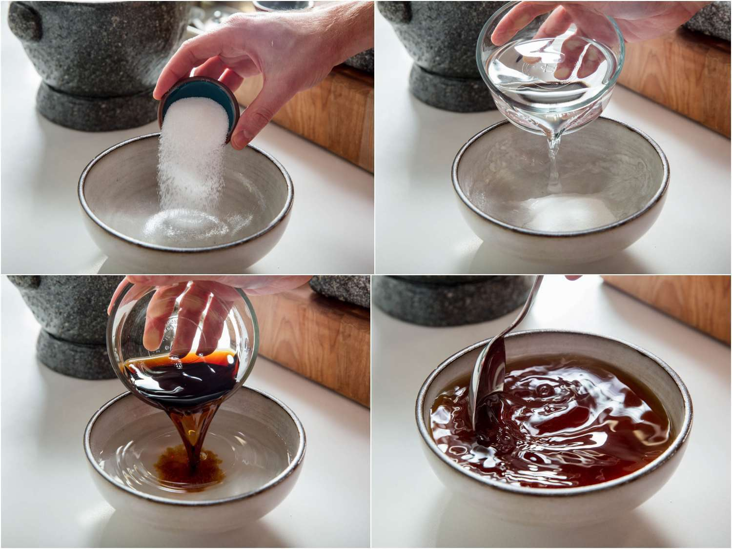 Process shots of stirring together sugar, distilled vinegar, and soy sauce for dipping sauce.