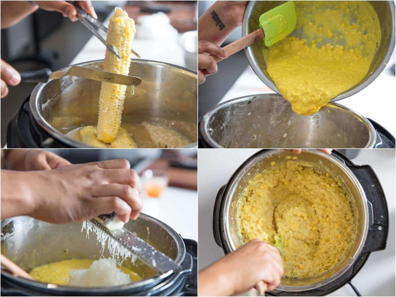 Finshing pressure cooker corn risotto with pecorino, sautéd corn and corn puree