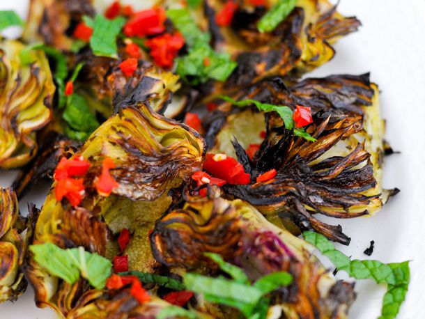 Grilled Artichokes with Mint and Chilies