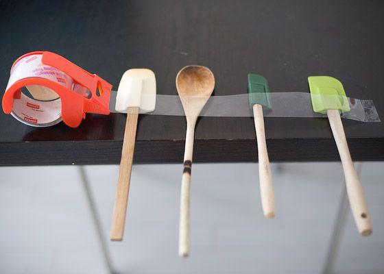 taped down kitchen utensils