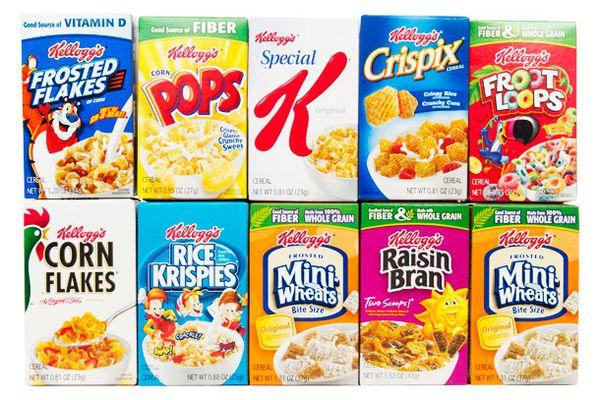 Mini box variety packs of breakfast cereal.