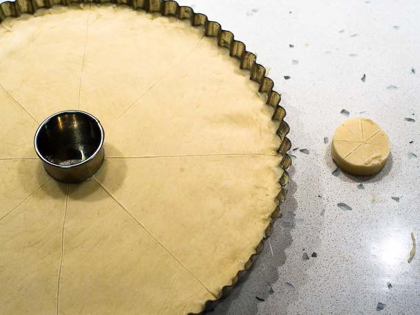 cut out hole in center of shortbread