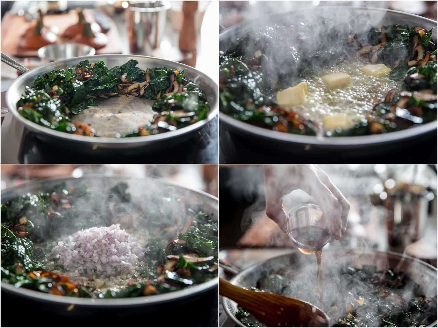 Process shots of adding butter and shallots and sherry to sautéed mushrooms and kale.