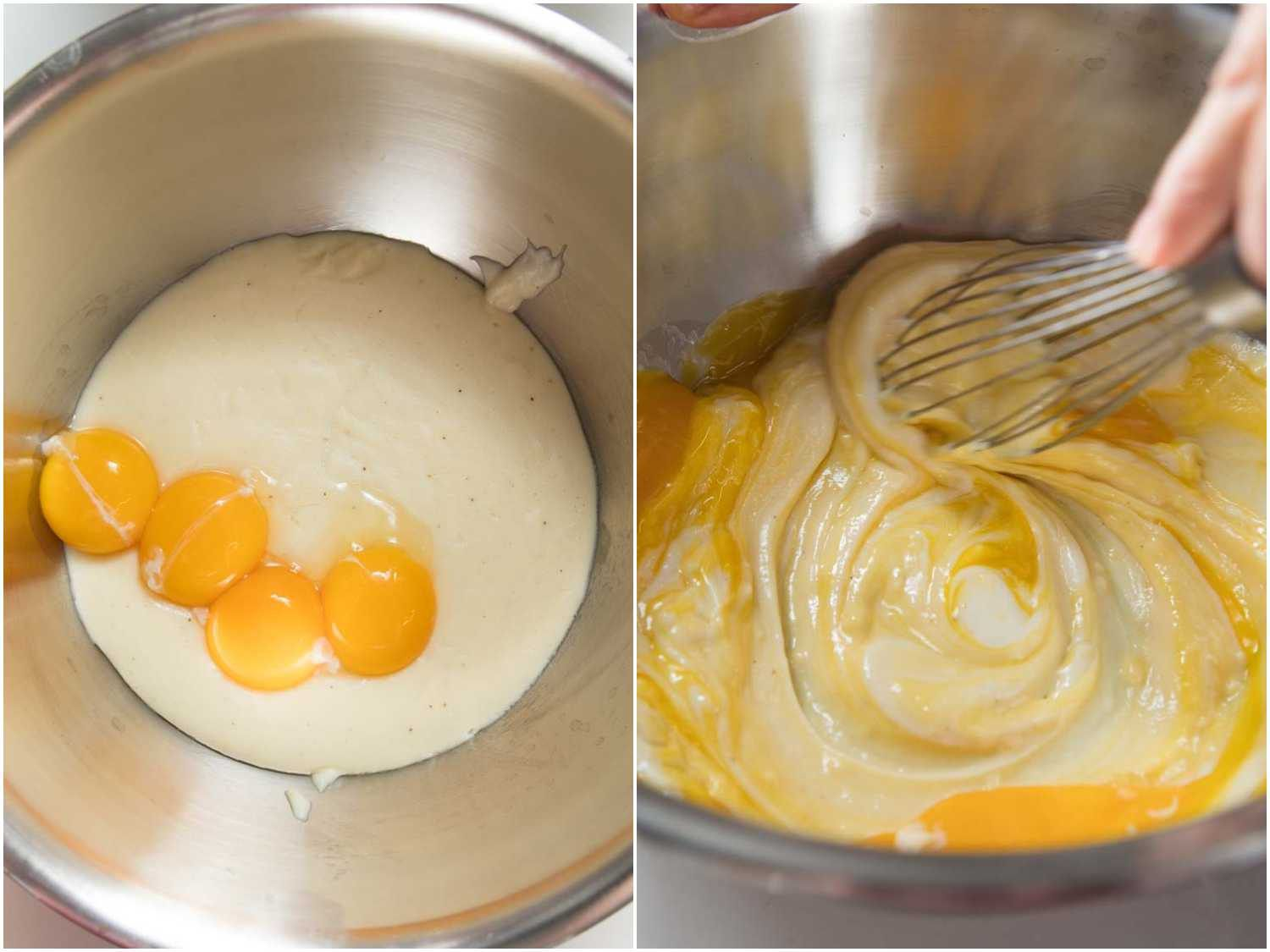 Mixing yolks into béchamel base for soufflé