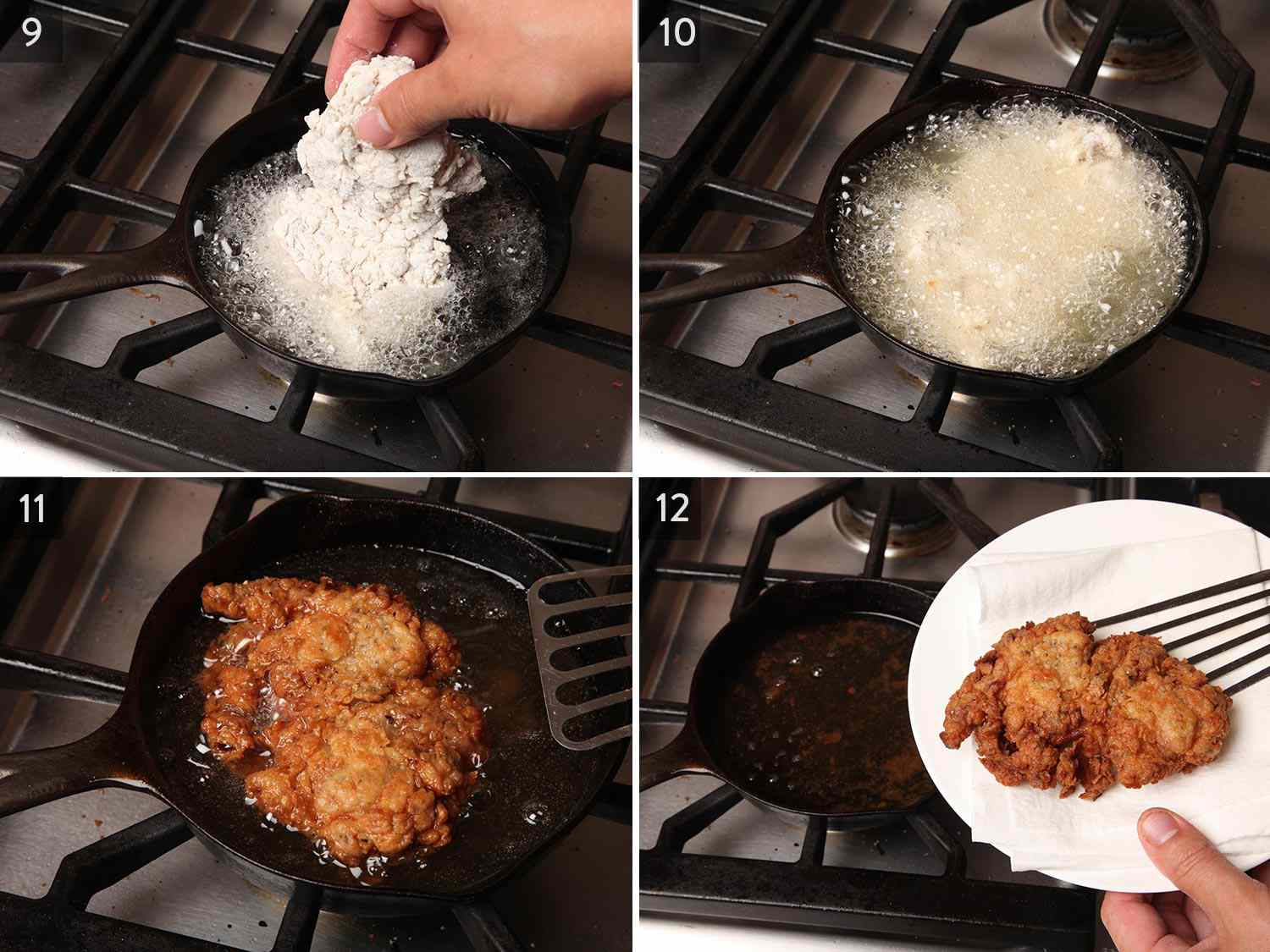 Photo collage showing adding one breaded chicken thigh to a small cast iron skillet of hot oil, frying in bubbling oil, flipping the chicken to show a golden brown exterior, and transferring to a paper towel-lined plate.