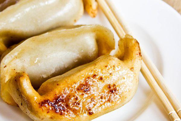A plate of Asian dumplings in Shanghai.